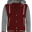 LE3NO Mens Casual Varsity Baseball Jacket with Detachable Hoodie (CLEARANCE)