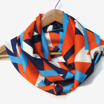 Vintage Confetti on Blue Infinity Scarf // Abstract // Vintage Print // Auburn Scarf // Orange and Blue // Football Scarf // Game Day Scarf