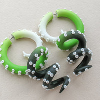 Octopus Gauges, Fake Gauge Earrings, Ear Gauges, Ombre Tentacle Gauges, Tentacle Plugs, Fake Plugs, Faux Gauges, Ear Plugs
