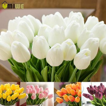 DCCKF4S Umiwe 10/30pcs PU Fake Artificial Silk Tulips Flores Artificiales Bouquets Party Artificial Flowers For Home Wedding Decoration
