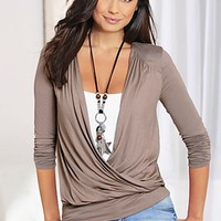 Taupe Plunging v-neck top from VENUS