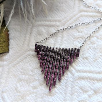 Sterling Silver Swarovski Color Obsession Crystal Elements Fuchsia Ombre 16 Inch Necklace