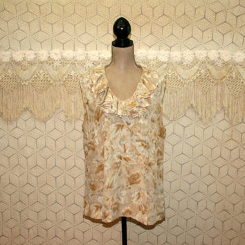 Silk Blouse Beige Print Ruffle V Neck Sleeveless Summer Top XL Dressy Top Talbots Size 16 W Plus Size Clothing Womens Clothing
