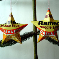Handmade Chicken Ramen Noodle Aluminum Stars - 2 Christmas Ornaments or Gift Toppers - A Unique Foodie Gift