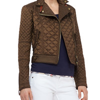 Women's Quilted Moto Jacket, Military Khaki - Burberry Brit - Military khaki