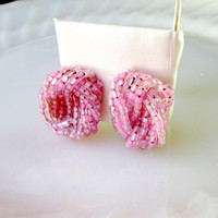 Pink Braided Seed Bead Earrings Clip Vintage Gift Collectible Gift Item 2411