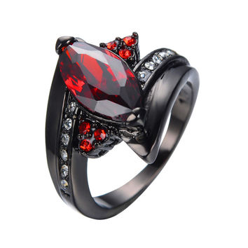 2016 luxury marquise cut red ring red garnet women charming prom