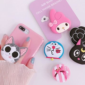New mobile phone bracket Cute hello kitty airbag Phone Stand Finger Holder Sakura luna cat phone ring