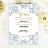 Lace wedding Invitation printed on luxury cream or white pearlescent paper - Gold and gray chic victorian wedding invite