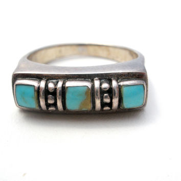 Sterling Silver Turquoise Stackable Ring Size 7.5 Boho Jewelry