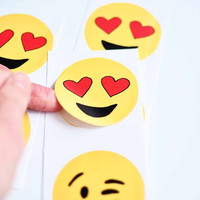 "Valentines day stickers tags 2"" circle - heart eyes emoji yellow red kiss face love lover eye circle includes 6 stickers"