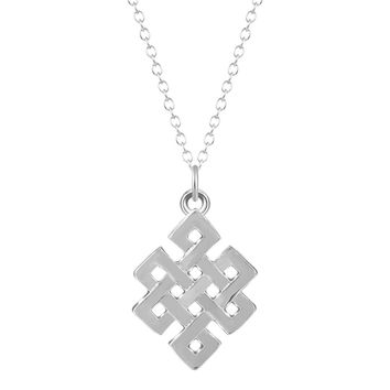 Eternal Endless Infinity Knot Geometric Square Pendant Necklace for Women Girls Accessories Christmas Minimalist Jewelry