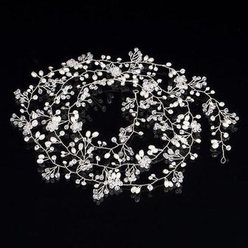 Handmade Bridal Crystal Rhinestone Hair Piece Women White Simulated-pearl DIY Jewelry Wedding Tiaras Crown Accessories
