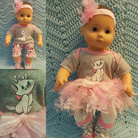 "Baby Doll Clothes ""Fancy Feline"" 15 inch doll outfit Will fit Bitty Baby® Bitty Twins®  dress, leggings, socks, headband"