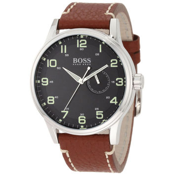 Hugo Boss 1512723 Men's Black Dial Brown Leather Strap Watch