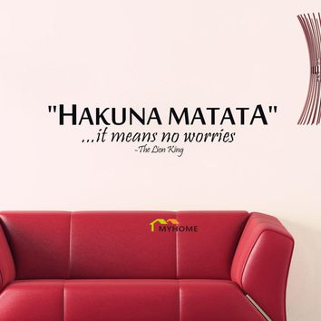 The Lion King Quotes HAKUNA MATATA It Means No Worries Decorative Wall Stickers Vinyl Wall Art Decals for Kids Rooms
