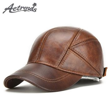 [AETRENDS] 2017 New Winter Hats with Ear Flaps Men's Genuine Leather Baseball Caps Men Z-5294