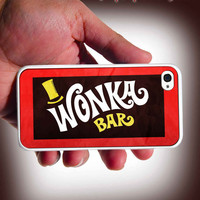 Willy Wonka Bar Design iPhone 4 Case or iPhone 4s Case Cover (Black / white Color Case)Silicone Rubber case