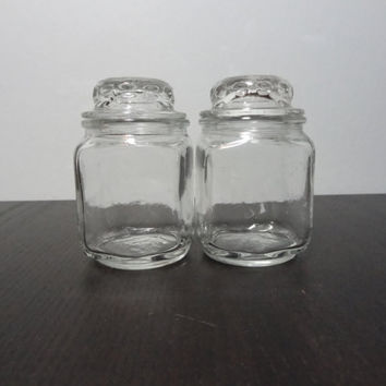 Vintage Square Clear Glass Small Anchor Hocking Canisters/Apothecary Jars/Spice Jars - Set of 2