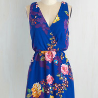 Short Length Sleeveless A-line And I Love Fleur Dress in Sapphire