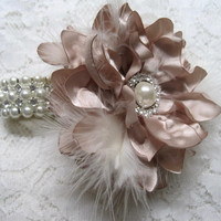 Champagne with Light Ivory Feathers Pearl with Rhinestone Wrist Corsage Bridesmaid Mother of the Bride Prom Custom Order