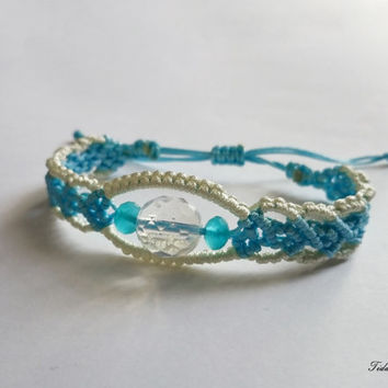 Blue bracelet - Big bead bracelet - bracelet for summer - white bracelet - boho bracelet - braided bracelet - bracelet for women - heart