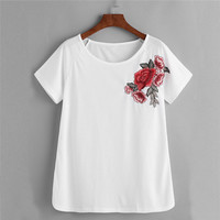 Round-neck Short Sleeve Hot Sale Sexy Tops T-shirts [10417015495]