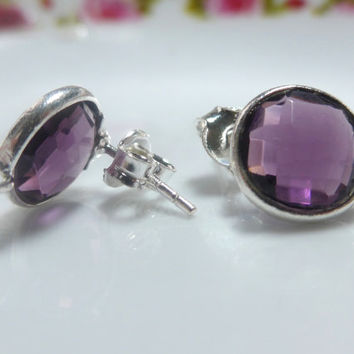 Beautiful Amethyst Quartz Faceted 11mm Round Cut Solid Sterling Silver Bezel Rim Ear post, on sale