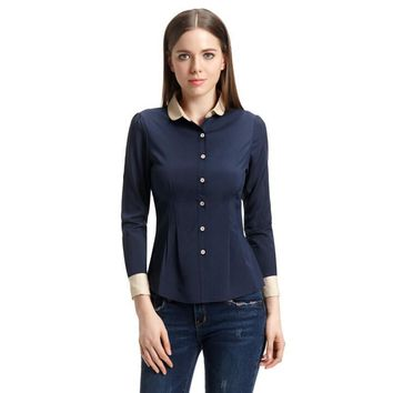 Elegant Turn-down Collar Office Shirt