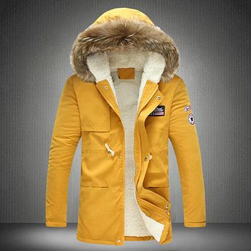 Men's Hooded Thick Warm Fur Collar Plus Size Jacket/Coat by Lance Donovan