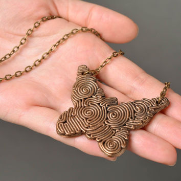 Handmade designer butterfly shaped pendant Polymer clay style Gift ideas