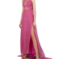 Akris Sleeveless Organza Gown w/Back Pleats