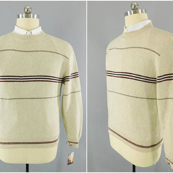 1970s - 1980s Vintage / MAXAM Wool Sweater / Horizontal Brown Stripe / Size XL / Made in USA / Preppy Look / 80s Fashion / Crew Neck / Tan