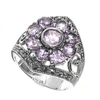High Fashion Sterling Silver Nature Flower Design Marcasite Ring with Lavender CZ