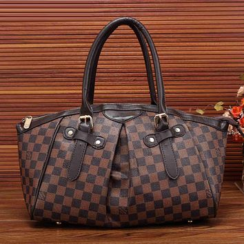Louis Vuitton Women Leather Zipper Satchel Tote Travel Bag Handbag