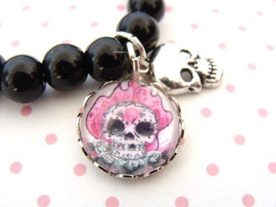 Flamin' Hot Pink Sugar Skull Bubble Charm Bracelet by GirlOfThe80s