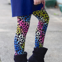 Girls Rainbow Animal Print Leggings