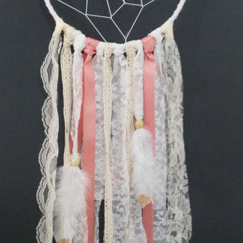 Coral/Cream/Gold/White Boho Nursery Dreamcatcher, Boho Handmade Dreamcatcher, Baby Shower Gift Idea