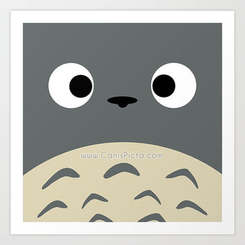 "Totoro Kawaii My Neighbor Square ""Simply Totoro"" 8x8 Pop Art Print Anime Grey Manga Troll Hayao Miyazaki Studio Ghibli Gift Wall Home Decor"