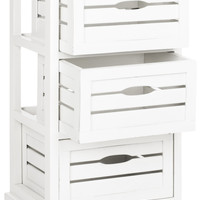Samara 3 Drawer Cabinet Distressed Cream