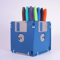Floppy Disk Pen and Pencil Holder BLUE by GeekGear on Etsy