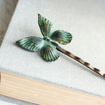 Butterfly Hair Pin, Bobby Pin Vintage Patina Insect Wings Verdigris Teal Turquoise Blue Green Nature Hair Accessories Modern Woodland