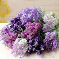 10 Heads Artificial Lavender Silk Flower Bouquet Wedding Home Party Decor [7981212999]