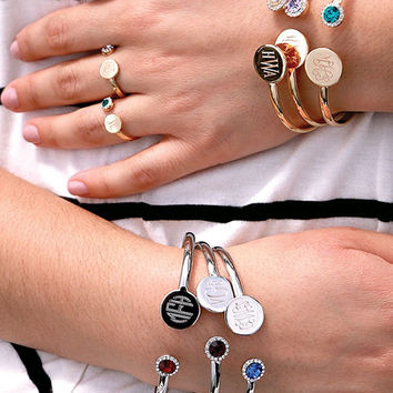 Silver Plated Birthstone and Monogrammed Bangle Bracelet