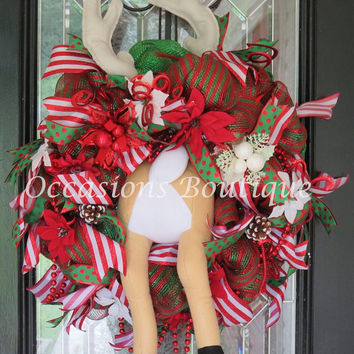 Christmas Wreath, Holiday Wreath, Christmas Decoration, Reindeer Wreath, Front door Wreath, Large Wreath, Door Hanger, Ready To Ship