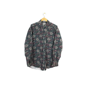 vintage 90s grunge floral pattern button down shirt - Why This? mens l - xl