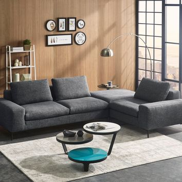 Divani Casa Cascade Modern Dark Grey Fabric Modular Sectional Sofa