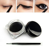 2016 High Quality Black Waterproof Eyeliner Gel Cream Eyes Liner maquiagem Gel Makeup Cosmetic Eyeliner Shadow Gel Brush Set