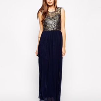 Club L Maxi Dress with Metallic Lace - Gold/navy