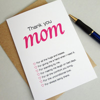 Mothers day card thank you mom for all reasons pink black print